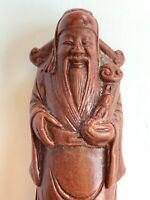 "Vintage Chinese Man Sculpture Carved Resin? Figure Asian Miniature 3 5/8"" Heavy"