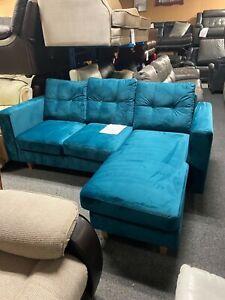 Velvet Chaise Sofa - Teal Plush velvet - top Quality or choose your own colour!