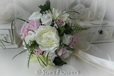 Wedding Flowers ADULT Bridesmaid Bouquet in Vintage Pink and Ivory