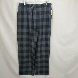 New Mens Large Flannel Sleep Pants Lounge Pajama Bottoms Black Plaid Checks