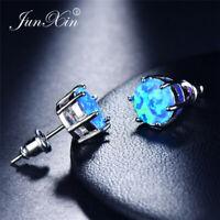 JUNXIN 5mm Blau Feuer Opal Ohrringe Für Frauen Männer 925 Sterling Silber