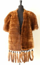 BEAUTIFUL vtg MINK genuine FUR STOLE SHAWL WRAP cape jacket coat BRIDAL