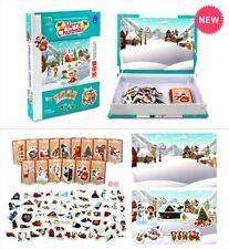 74 PIECES JIGSAW PUZZLE Magnetic Christmas Tree with Santa Olaf Houses Gift