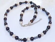 GENUINE Natural Cream, Tahitian Black/Grey Coloured Pearls 925 Sterling Silver!!