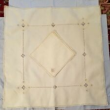 Vtg Italian Linen Drawnwork Embroidery & Needle Lace Luncheon Cloth 4 Napkins