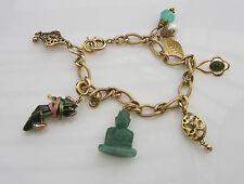 Vintage Designer KJL KENNETH JAY LANE Asian Buddha Enamel Shoe Charm Bracelet