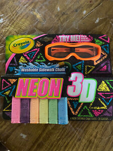 Crayola NEON 3D Sidewalk Chalk 6 Washable Colors 3D Glasses Kids Game Toy