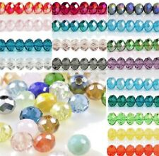 Roundelle Round Czech Crystal Glass Faceted Beads 2x3, 3x4,4x6, 6x8mm Jewellery