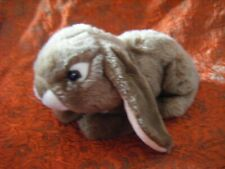 "Dowman Soft Touch brown/white lying down Bunny Soft Toy 11"" long approx VGC B131"