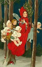 CHRISTMAS, FLYING ANGELS WITH TOYS AND TREE, VINTAGE PIC, MAGNET