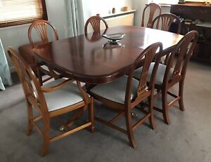 BEVAN FUNNELL Reprodux Regency TWIN PEDESTAL DINING TABLE & 6 CHAIRS -  UK DEL
