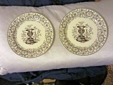 Two's Twos Company Brown Transferware Urn Vase Floral Wall (2) Plates Nr