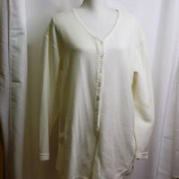 Honors Womens Top Size Large Ivory Cotton Blend Button Down V-Neck Long Sleeves