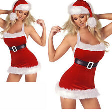 Sexy Women Christmas Red Santa Claus Holiday Party Cosplay Costumes Fancy Dress