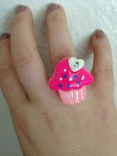 Cupcake Sparkle Ring Birthday Party Girly Trendy Hearts Light Pink