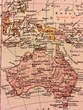 Vintage 1928 Map of Australia  and Polynesia Leaf  Colorful Vibrant VG