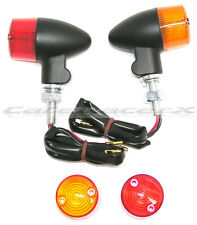 Motorcycle Black with Amber & Red Lens Aluminum Bullet Turn Signal Lights 3 Wire