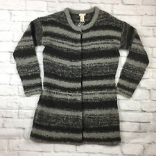 Sundance Catalog Womens Cardigan Sweater Small Alpaca Wool Blend Gray Stripe