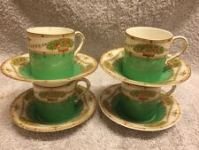 Royal Worcester Floral Coffee Cans And Saucer Flower &as wag Border Rare Signs