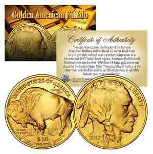 2021 24K Gold Plated $50 AMERICAN GOLD BUFFALO Indian Head TRIBUTE Coin *NEW*