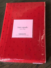 "KATE SPADE Larebee Dot Cranberry Red Tablecloth  70"" x 122"""