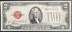 1928-D Red Seal $2 Dollar Bill Legal Tender Note  (C182)