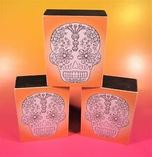 Adult Coloring Art Sugar Skulls Day of the Dead Set of 3 Wood Mount Box MINT