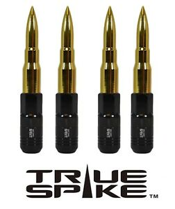 16 TRUE SPIKE 121MM 12X1.5 GOLD EXTENDED STEEL TUNER SPIKED BULLET LUG NUTS