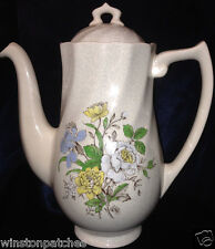 ROYAL DOULTON SUTHERLAND COFFEE POT & LID 42 OZ MULTICOLOR FLOWERS GREY LEAVES