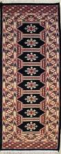 Rugstc 2x6 Bokhara Jaldar Black Runner Rug, Hand-Knotted,Geometric with Wool