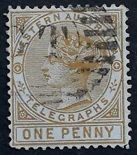 1879 Western Australia 1d Bistre Telegraph Stamp Perf 14 Used