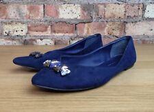 MARKS & SPENCER Collection Ballet Flat Blue Slip On Womens Shoes Size 6 UK Gems