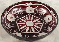 VINTAGE BOHEMIAN RUBY RED CUT TO CLEAR GLASS BOWL ~ FLORAL DESIGN ~ NOS ~