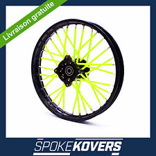 COUVRE RAYON JAUNE FLUO DIRT MINI 50 ROUE JANTE SPOKE COVERS SKINS VELO TRIAL