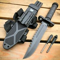 "12.5"" MILITARY TACTICAL FIXED BLADE Hunting  Army  SURVIVAL Knife w Fire Starter"