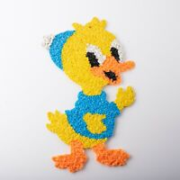 Vintage Melted Plastic Popcorn Chick w Hat Duck Spring Easter Decoration