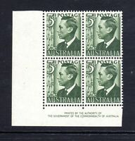 1951 KGVI - 3d GREEN - Corner BLOCK of 4 with AUTHORITY  IMPRINT ***MUH***