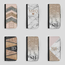 PERSONALISED MARBLE INITIALS LEATHER FLIP PHONE CASE FOR APPLE IPHONE SAMSUNG