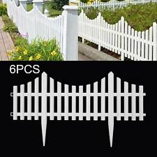 6 Pack Plastic Wooden Effect Lawn Border Edge Garden Edging Picket Fencing Set