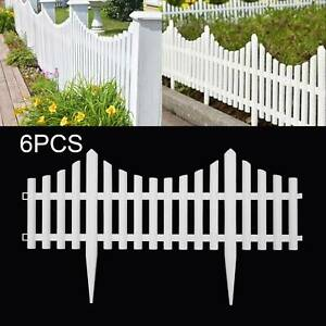 6 Pack Plastic Wooden Effect Lawn Border Edge Garden Edging Picket Fencing Set