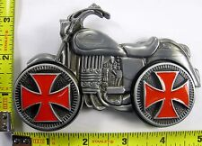 MOTORCYCLE WITH SPINNING RED IRON CROSS RIMS BELT BUCKLE BIKER BIKE METAL B665