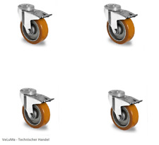 Satz Schwerlastrollen 125 mm Polyurethan Rad Transportrollen PU Rad Rückenloch