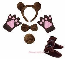 Halloween Coffee Brown Bear Headband Bow Tail Paw Shoes 5pc Kids Party Costume