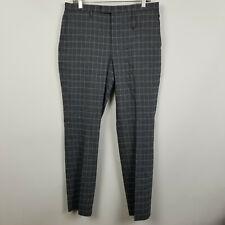 Banana Republic Slim Fit Flat Front Charcoal Check Mens Linen Dress Pants 33x32