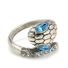 Unique Female Blue Rhinestone Silver Metal Wrap Snake Finger Ring Jewelry Gift