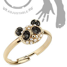 Toe Ring & Finger Ring Jewelry Adjustable Gold Plated Crystal Panda Bear