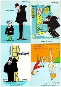 s27447) N.4 Comics French Post Cards