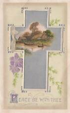 Antique EASTER FOLDING POSTCARD c1907-20 Silver Cross Country Scene Emb. 16314