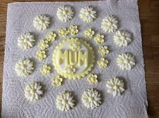 sugarpaste Mum Birthday plaque and flowers cake topper decoration yellow-white