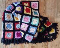 """Granny Square Handmade Crochet Afghan Blanket Throw Black Fringe Trim 72"""" X 56"""""""